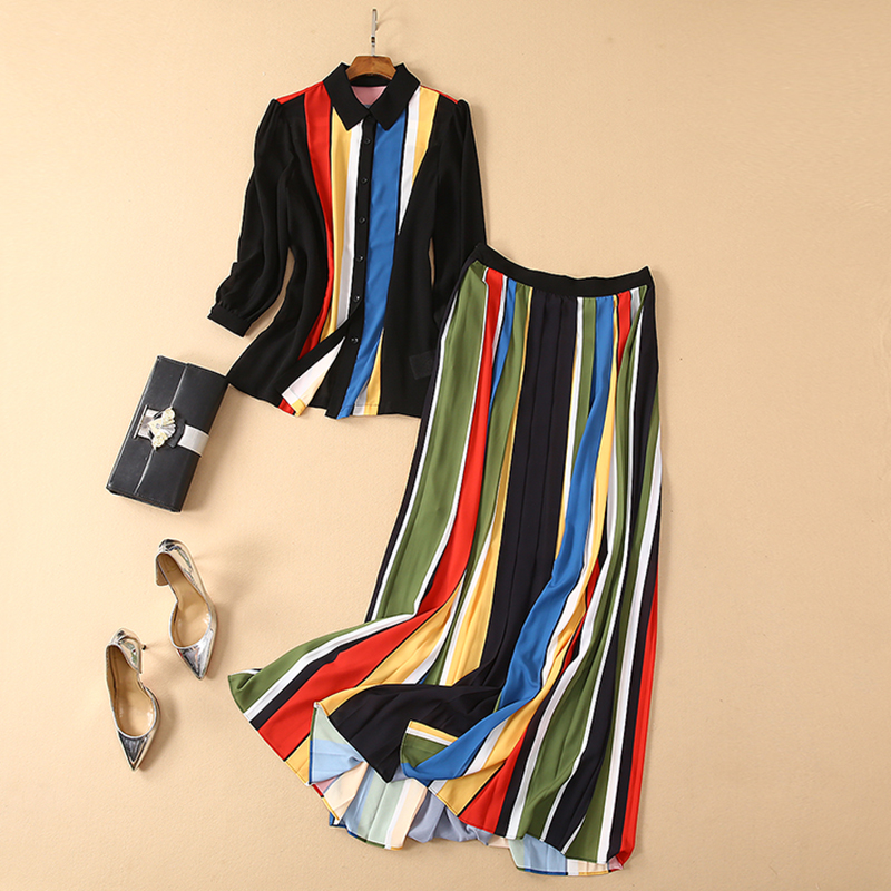 HIGH QUALITY Newest 2019 Fashion Designer Runway Suit Set Women s Long Sleeve Colorful Striped Blouse