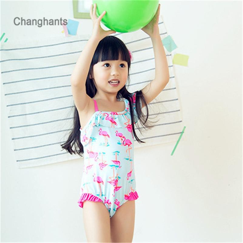 בנות בגדי ים כחול בהיר עם ורוד פלמינג דפוס 1-14 Y ילדים חלק אחד לשחות ללבוש בגדי ים ילדים שחייה