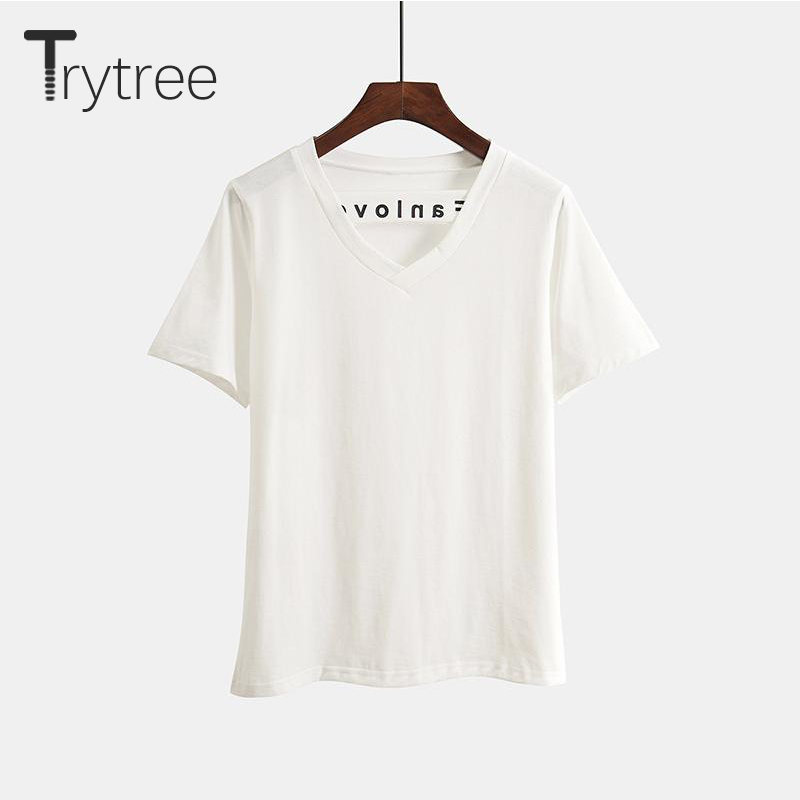 Trytree Summer Casual Women Solid T-Shirt Female Top Cotton Polyester Short sleeve V-Neck  All-Purpose Style Women tshirt