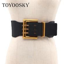 TOYOOSKY 2018 Antique Big Generous Gold Buckle Faux leather Waist belt All-match Wide Belt for Women Luxury Designer Brand все цены