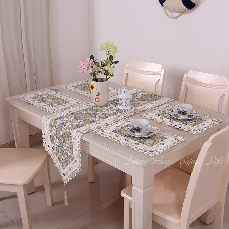 New Elegant Floral Full Embroidery Table Runner Decoration Flag Runners  Dining Room Cutwork Embroidered Cloth Placemat