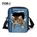 FORUDESIGNS Hot Women Messenger Bags Cute Animal Denim Pet Cat Dog Crossbody Bag Casual Small Travel Shoulder Bags Ladies Bolsas