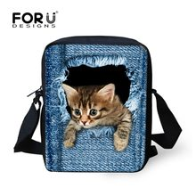 FORUDESIGNS Hot Wanita Messenger Lucu Hewan Denim Pet Cat Dog Travel Bahu Bolsas Crossbody Tas Kasual Kecil(China)