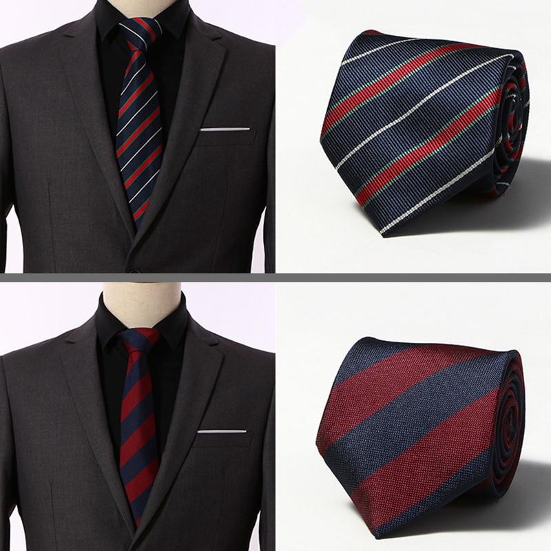Men Tie 8cm Skinny Ties Striped 100%Silk Neckties Mens Fashion Jacquard Business Mens Wedding Dress Luxury Wide Bowtie