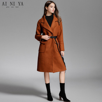 2018 New Autumn Winter Long Thick Wool Woolen Coat Female A-line Turn-down Collar Belt Coat 55% Wool 45% Polyester