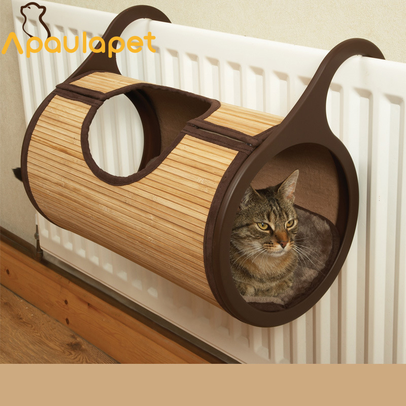 Apaulapet Natural Bamboo Radiator Cat Bed Tunnel For Cat Furniture & Scratchers Pet Supplier