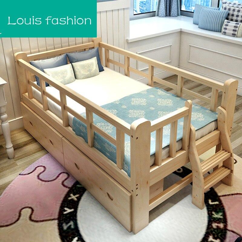 Bed Voor Kind.Us 399 0 Louis Mode Massief Hout Kinderen Bed Barriere Kleine Single Jongen Meisje Prinses Kind Verbreed Splicing Bed In Bedden Van Meubilair