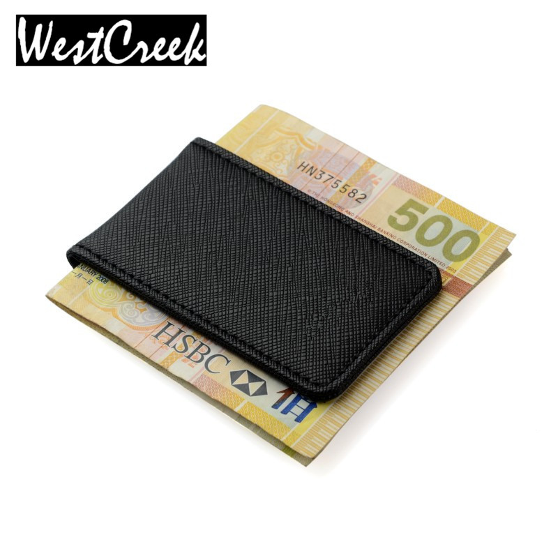 Friendship Gift Brand Genuine Leather Money Clip Purse Men Strong Magnetic High quality Black Clip for