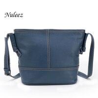 Nuleez Women Handbag Real Leather Summer Bag Bucket Crossbody Shoulder Blue Black Red Women Messenger Bags Genuine Leather 1209