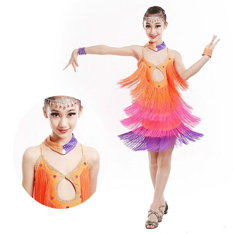 ᓂChildren Latin Dress Kids Tassels Flamengo Dancing Dress Sexy ...