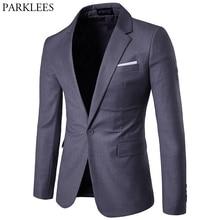 グレースリムフィットワンボタンスーツブレザーコートジャケット男性 2019 春の新ビジネスフォーマルタキシードブレザージャケット男性結婚式新郎衣装オム
