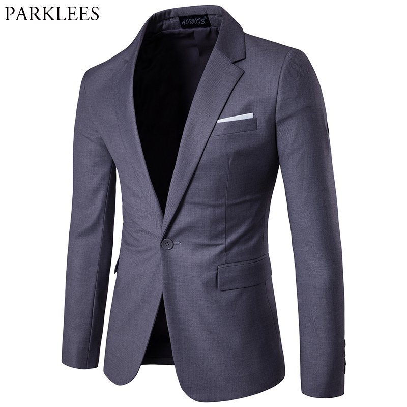 Gray Slim Fit One Button Suit Blazer Men 2019 Spring New Business Formal Tuxedo Blazer Jacket Male Wedding Groom Costume Homme