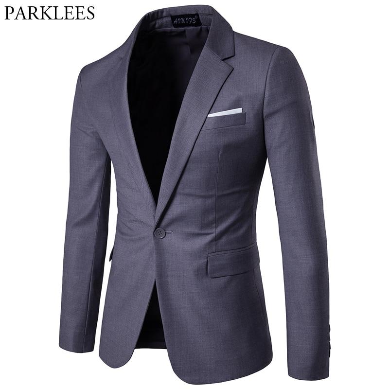 Gray Slim Fit One Button Suit Blazer Men 2019 Spring New Business Formal Tuxedo Blazer Jacket Male Wedding Groom Costume Homme
