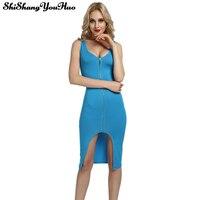 Bodycon Sheath Dress Sleeveless Party Sexy Women Clothing Zipper Robe Pencil Tight Dress Vestidos Plus Size