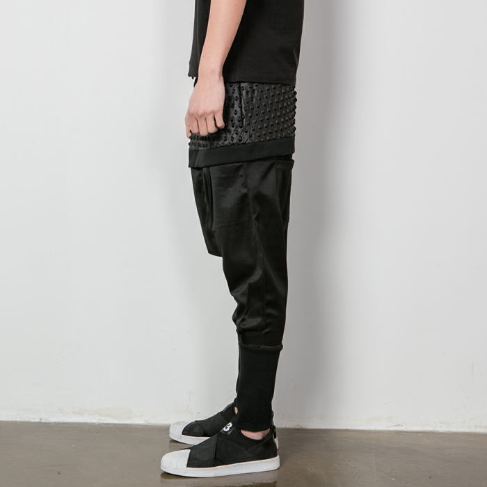 Gd Male Hip-hop  Dj Personality The Trend Of Faux Two Piece Trousers Casual Pants Culottes