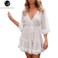 Lily Rosie Girl Lace Dot Pink Women Mini Dresses 2018 Summer Sexy V Neck Party Beach