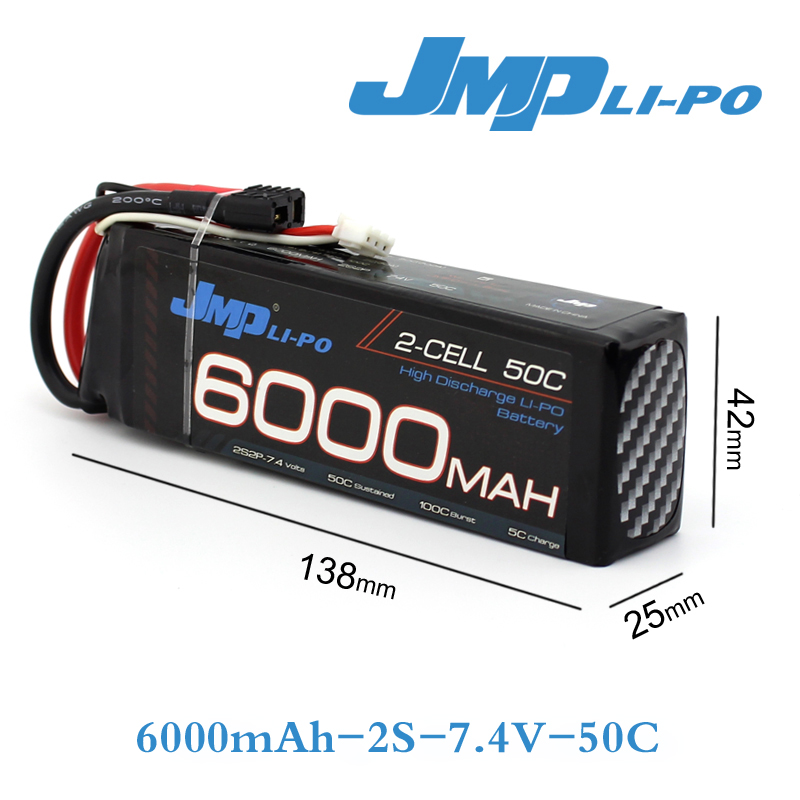JMP Lipo Battery 2S 6000mAh 7.4V Battery Pack 50C Battery for TRAXXAS SUMMIT E-REVO HPI FLUX 7 4v 500mah 50c lipo battery