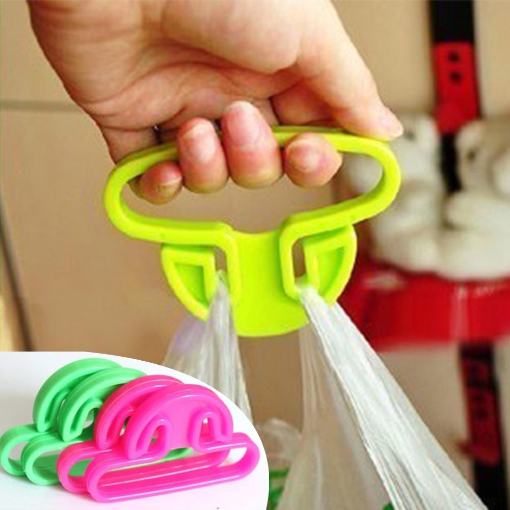 Shopping Bag Hanger Hooks Carry Food Machine Ergonomic Plastic Anti-wear Hand Finger Home Helper Weight Capacity Random Color