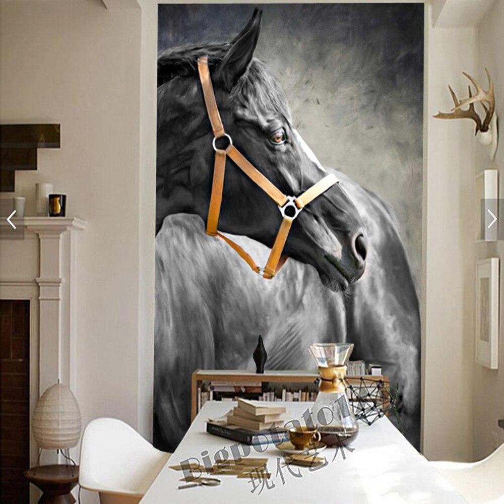 Papel de parede cheval peinture animal 3d papier peint, salon canapé TV mur chambre papier peint décor à la maison restaurant bar mural