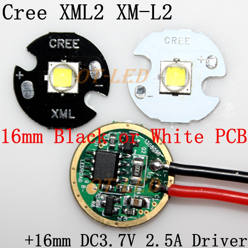 Cree XML2 XM-L2 T6 10W High Power LED Emitter Cool White Neutral White Warm White 16mm Black or White PCB + DC3.7V 2.5A Driver cree xhp50 cool white neutral white warm white high power led emitter 6v 16mm copper pcb 22mm 1mode 3modes 5modes driver