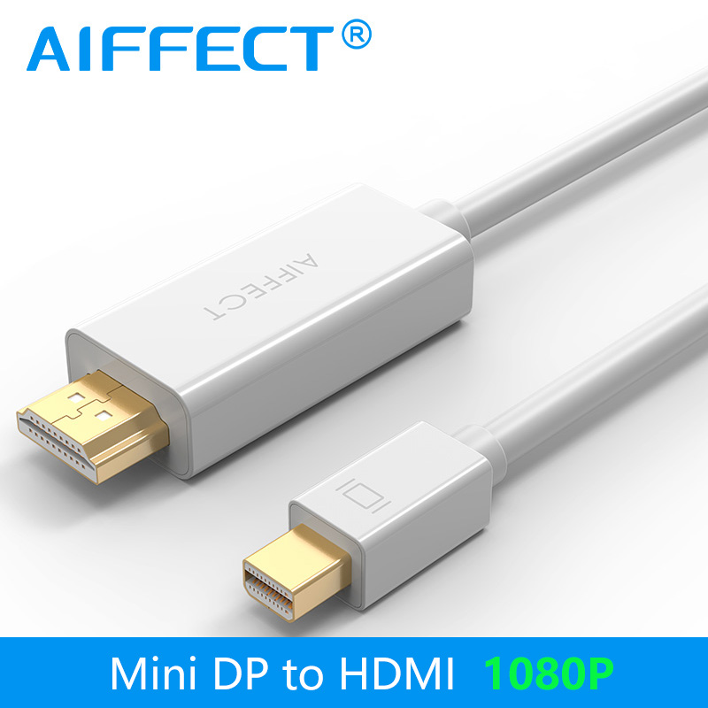 AIFFECT 1080P Mini DP to HDMI Cable DisplayPort Thunderbolt Port Cord Line Support 2K 4K