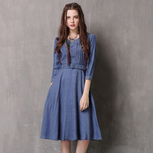 2019 spring summer autumn V-neck sleeves denim  women's retro lace belt lace dress famous brand solid color women clothing цены