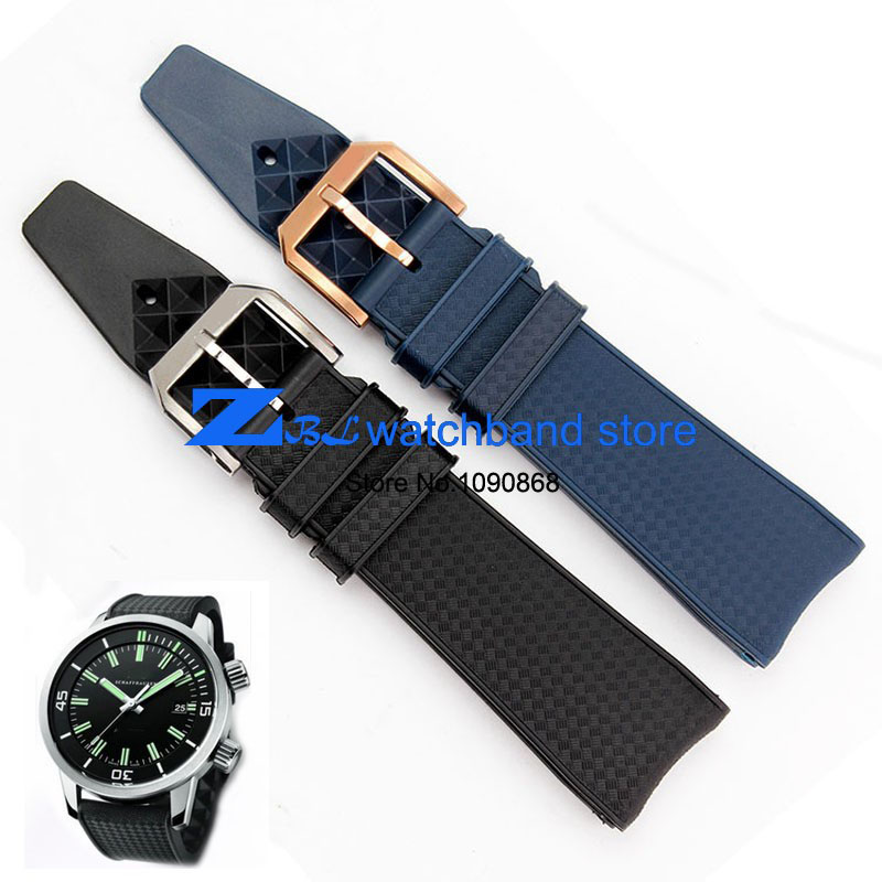 silicone rubber watchband Watch strap waterproof black blue soft width 22mm sport wristwatches band for IW323101 silicone rubber watchband double side wearing strap for armani ar watch band wrist bracelet black blue red 21mm 22mm 23mm 24mm
