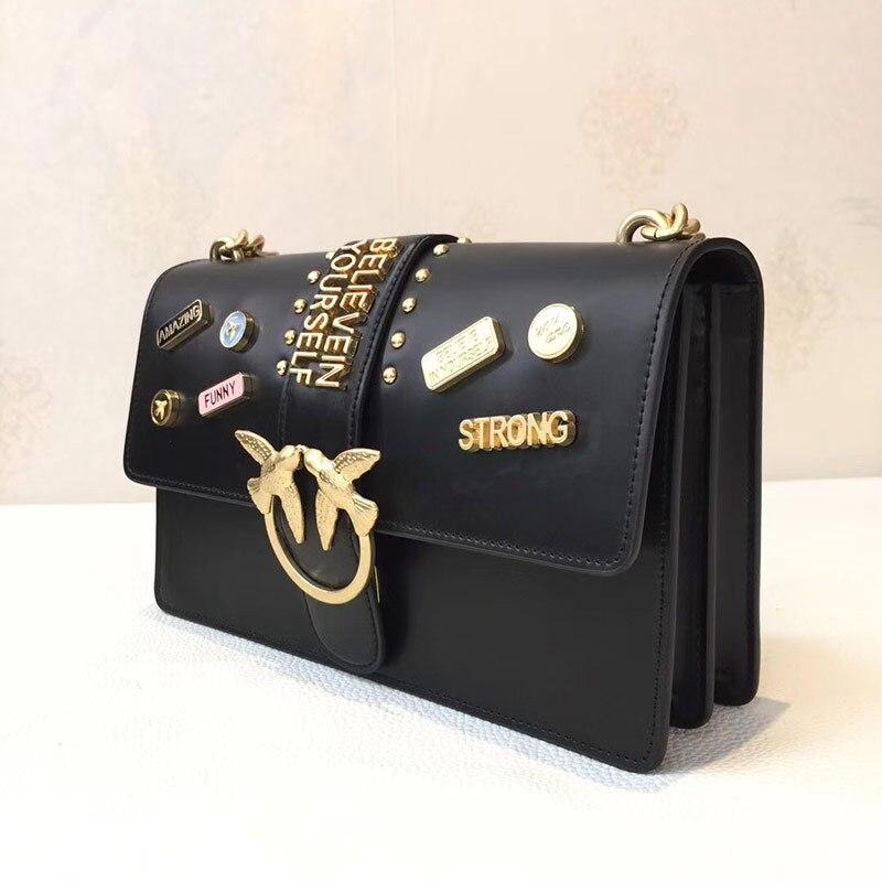 0d69b98a57bf Famous brand Black Woman genuine cow Leather Handbags Women Fashion Swallow  Bags Messenger Bags Crossbody Bag. sku  32882568120