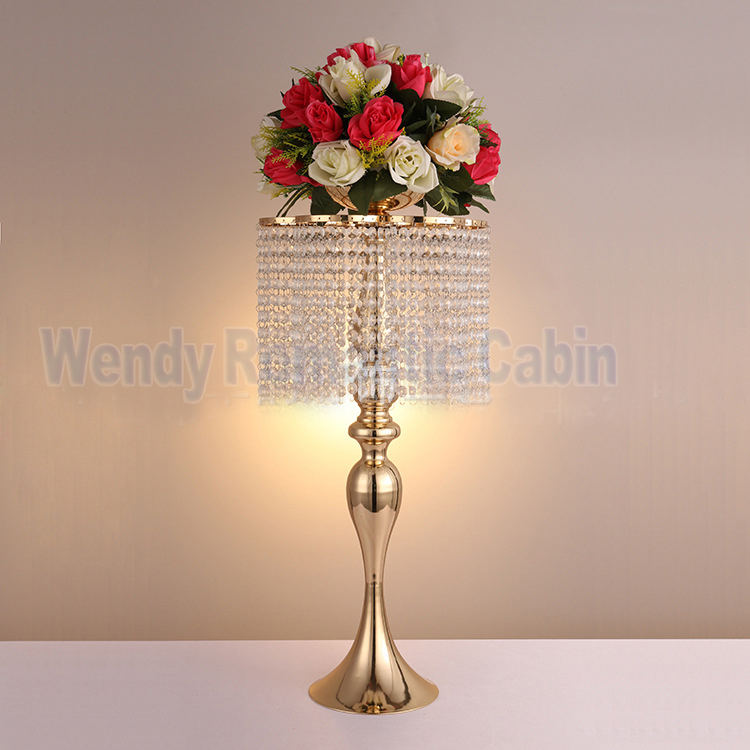 Table Chandelier Wedding Flower Stand Gold Table Center Wedding ...