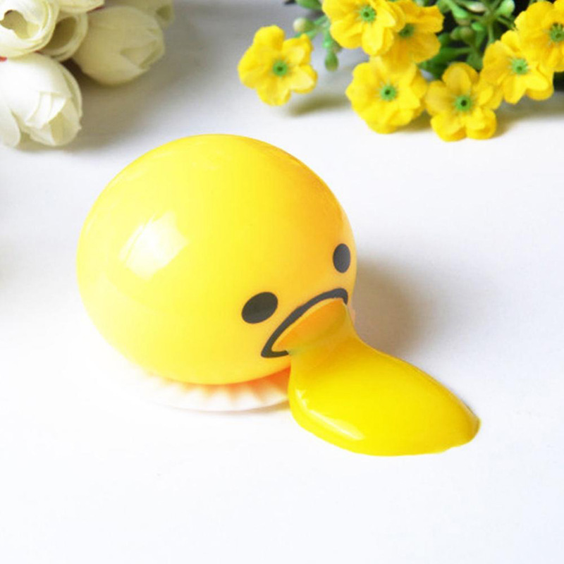 Egg Yolk Stop Stress Reliever Fun Gift Yellow Vomiting Lazy Egg Novelty Gag Joke Toy Ball Egg Squeeze Funny Toys