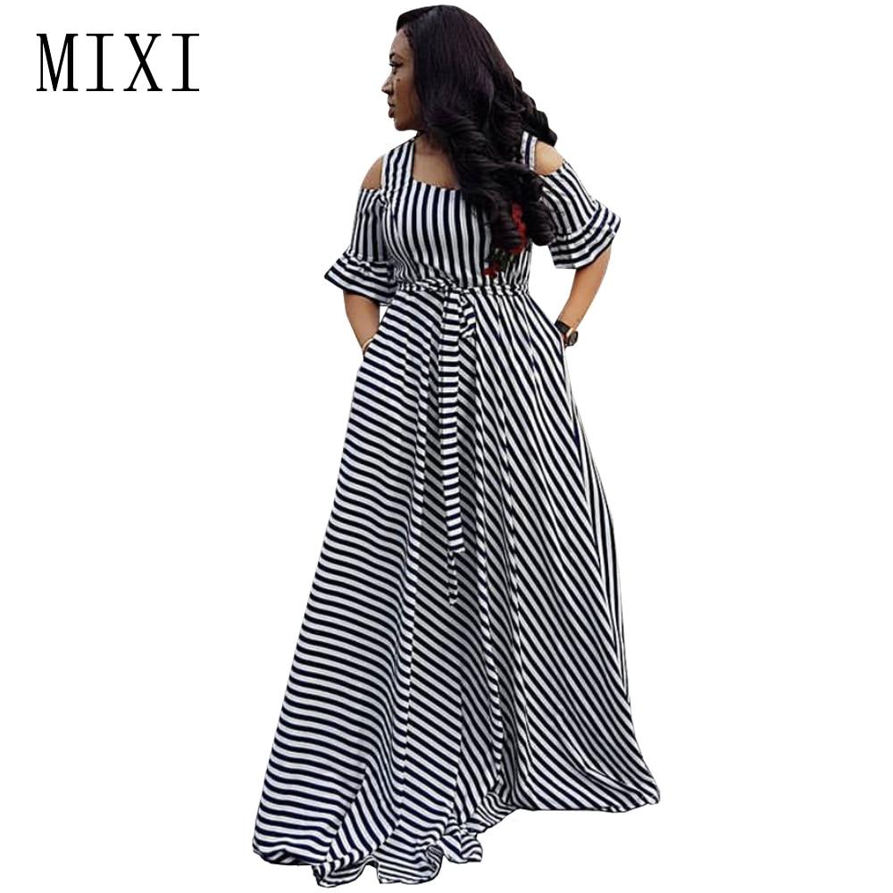 MIXI Floral Hímzés csíkos Maxi öltözet Hideg váll rövid ujjú - Női ruházat
