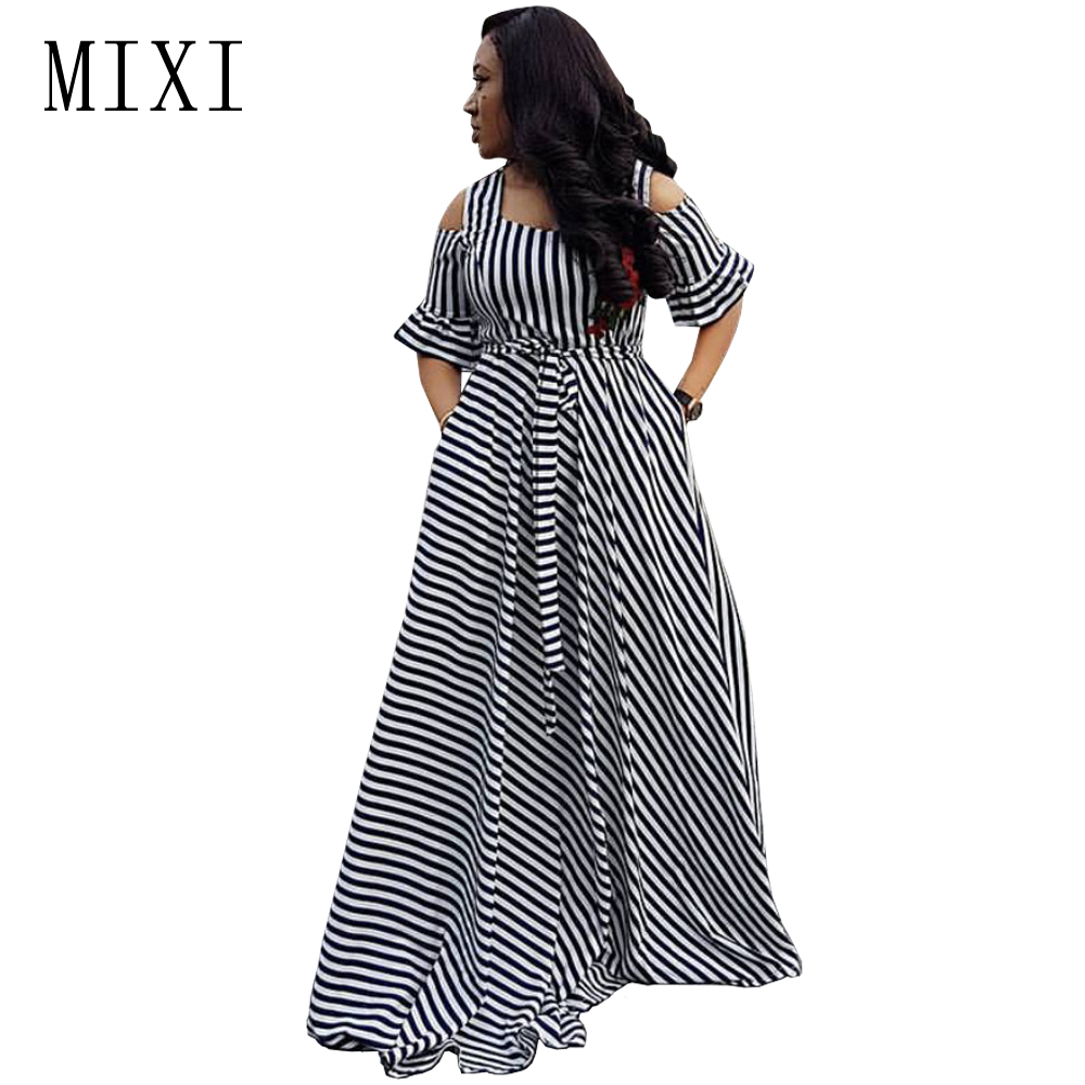 MIXI Floral Embroidery Striped Maxi Dress Cold Shoulder Short Sleeve Sashes Elegant Party Dress Women Summer Beach Long Dresses