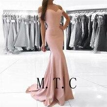 Vestido de festa de casamento elegante, rosa, blush, 2019 fora do ombro, cetim elástico, vestidos de dama de honra, mulheres baratos, vestidos