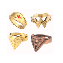 Hot Super Hero Movie Golden Wonder Woman W Logo Ring High Quality Red Comet Ring Crown Men and Women Jewelry(China)