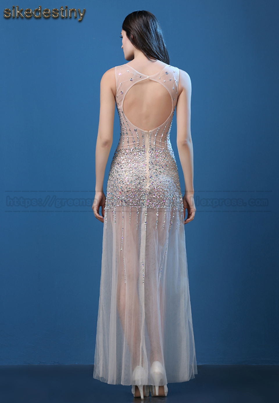 Sexy Backless Beaded Burgundy Mermaid Long Evening Dress Ivory ...