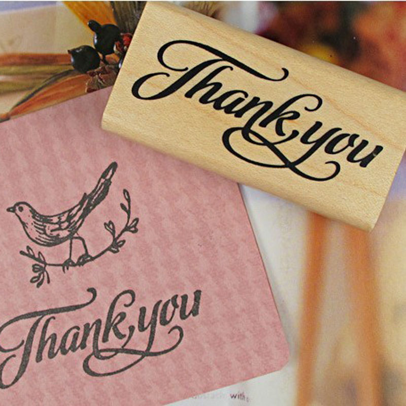 4 patterns thank you wooden stamps scrapbooking thank you for Custom craft rubber stamps