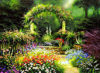 Floral Fantasy Flower Leaves Courtyard Garden Arch photography backgrounds Computer print wedding photo backdrop