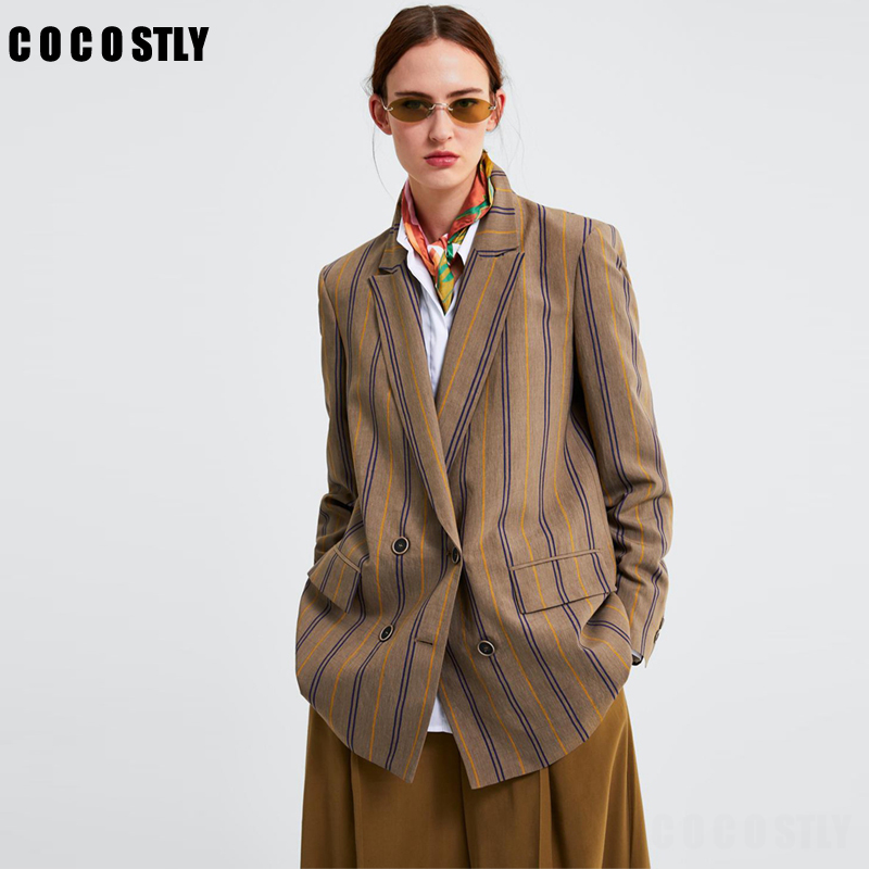 Striped Women Twill Blazer Women Autumn Elegant Suits Ladies Notched Collar Double Breasted Blazers Chic Girls Top Clothes