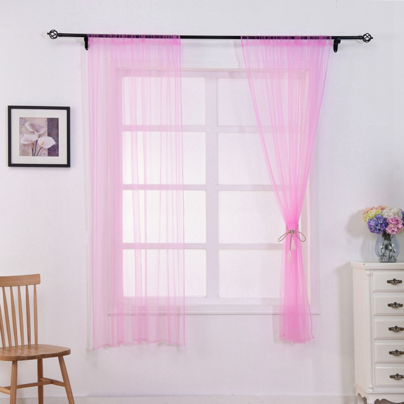 Nordic Solid Easy Install Rod Curtain Romantic Tulle Curtain For Livingroom Decoration Washable Semi-transparent CurtainS