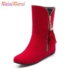 Купить с кэшбэком KaiziKarzi Plus Size 32-47 Women Flat Half Short Boots Winter Warm Snow Boot Plush Fur Sweet Bowknot Footwear Botas Shoes Women