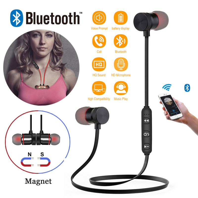 Sports Bluetooth Earphone Audifonos Bluetooth 4.1 Wireless Metal Headphones Super Bass Earphones For Xiaomi Magnetic Earbuds