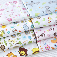 100x160cm 9 Great Mixed Animals Monkey Donkey Bird Lion Flower Leaf Printed 100 Cotton Flannel Fabric