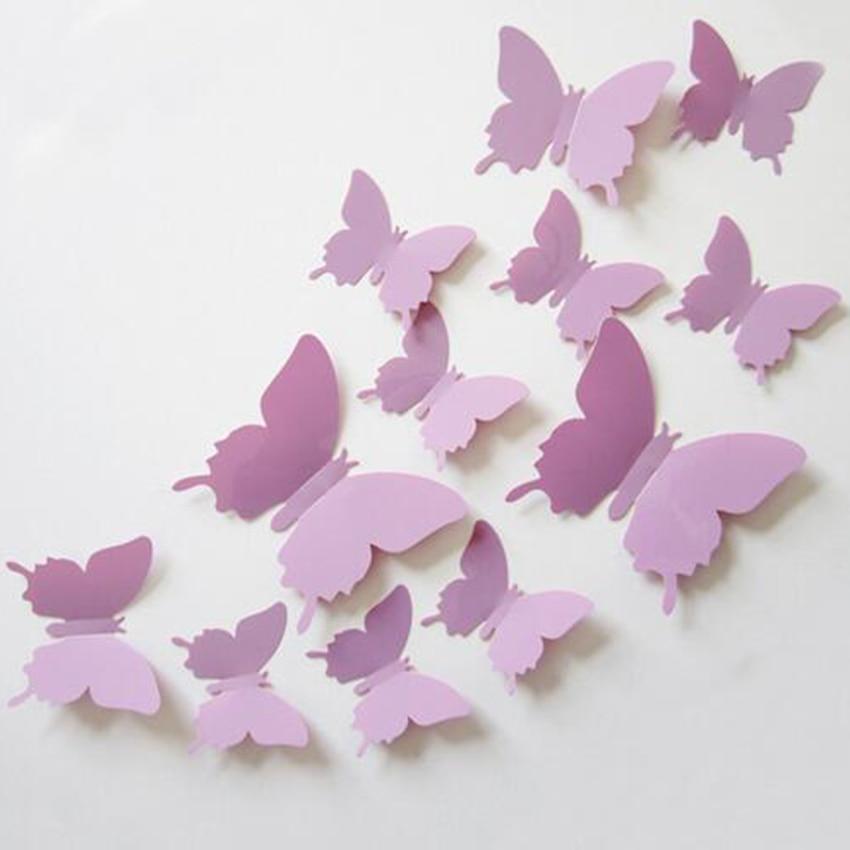 12pcs PVC 3D Butterfly Wall Decor Butterflies Wall Stickers Art ...