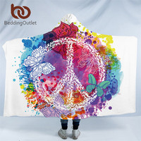 BeddingOutlet Watercolor Butterfly Hooded Blanket Colorful Sherpa Fleece Microfiber Peace Design Throw Blanket for Sofa manta