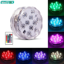 10led RGB Led Underwater Light Pond Submersible IP67 Waterproof with Iron Swimming Pool Light Battery Operated for Wedding Party 10leds rgb led underwater light pond submersible ip67 waterproof swimming pool light battery operated for wedding party