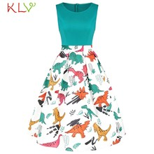 969b10c7ac Dress Women Vintage Dinosaur Print Casual Elegant Summer Dress Sexy Party  Night Dress 2019 Plus Size