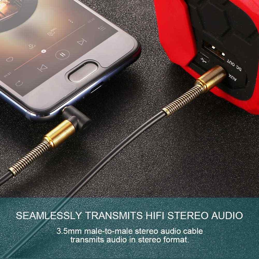 Carro aux cabo de áudio 3.5mm jack macho para macho de alta fidelidade universal estéreo cabo de áudio com ângulo de 90 graus