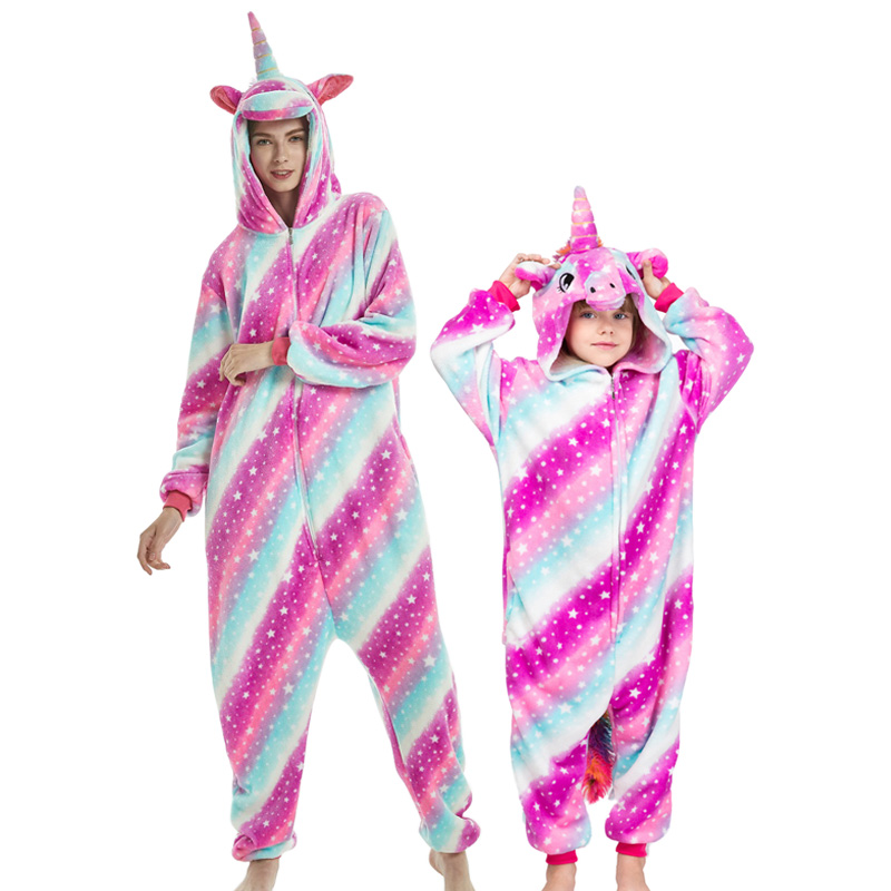 Image 4 - NEW mommy and me animal unicorn panda family matching pajamas clothes hooded kids mother soft sleepwear winter Christmas pyjamas-in Matching Family Outfits from Mother & Kids