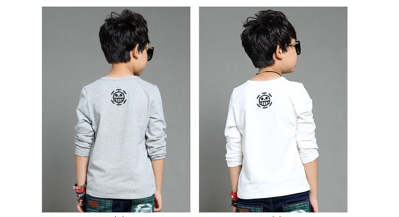 anime Skull sprinted kid t-shirt for boys clothes t-shirt long sleeve white gray cartoon children tops tees boys spring autumn 2017 new clothing (4)