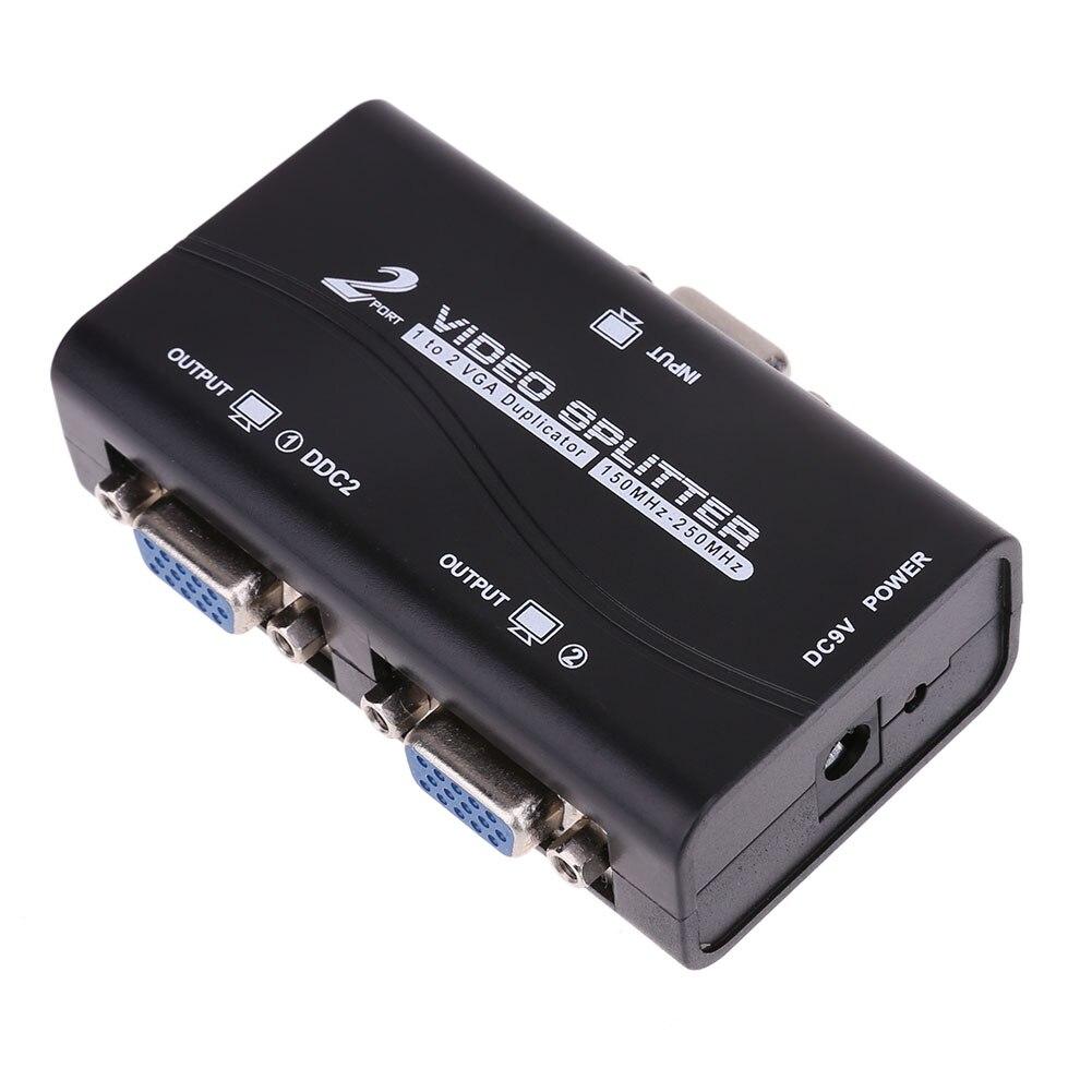 1 a 2 puertos VGA Splitter 15pin duplicador 1-in-2-out 250 MHz dispositivo cascadeable botas señales de vídeo para la asignación de PC RGU